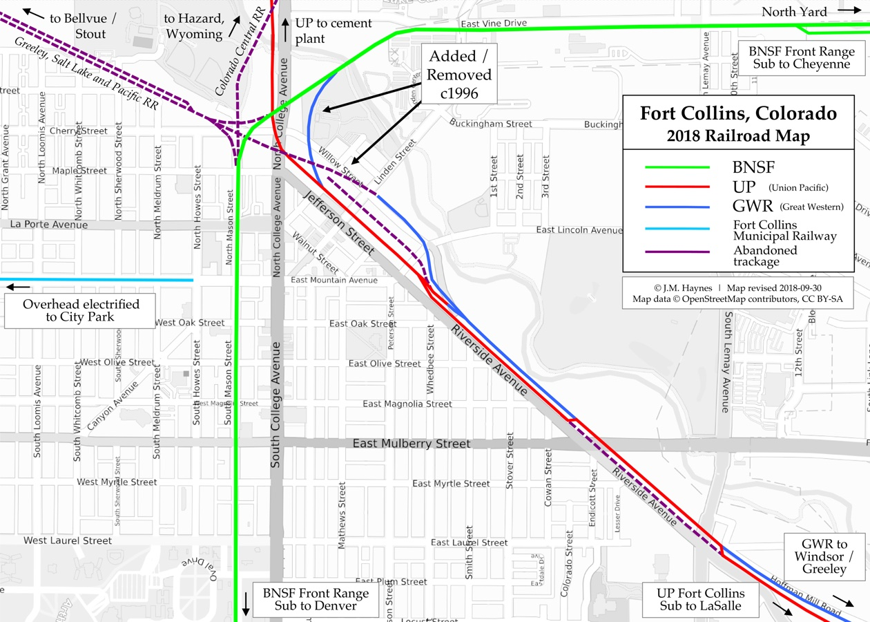 Fort Collins Railroad Map - Map of railroad tracks in us